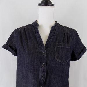 Tommy Denim Jean Shift Dress Pockets Modest Cotton